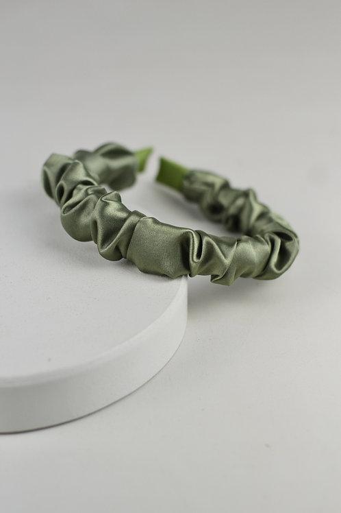 Tiara Scrunchie Cetim Verde Militar