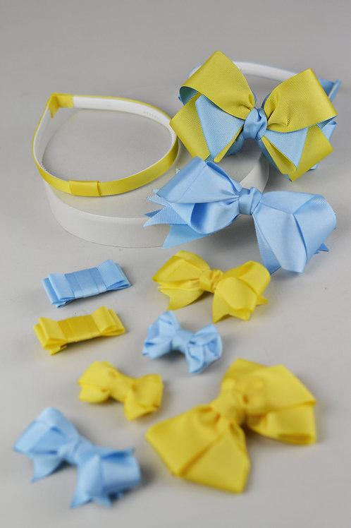 Kit 9 Laços e 2 Tiaras Amarelo e Azul