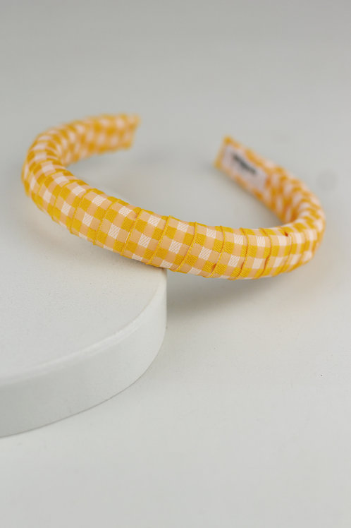 Tiara Acolchoada Vichy Amarelo Pequena