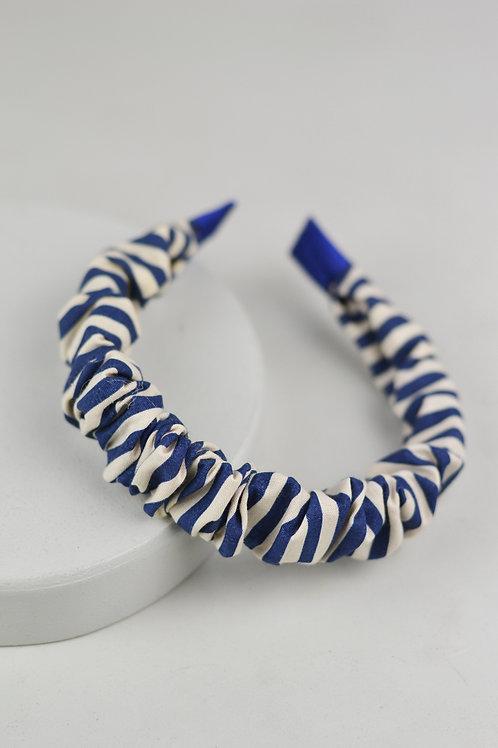Tiara Scrunchie Listrado Azul