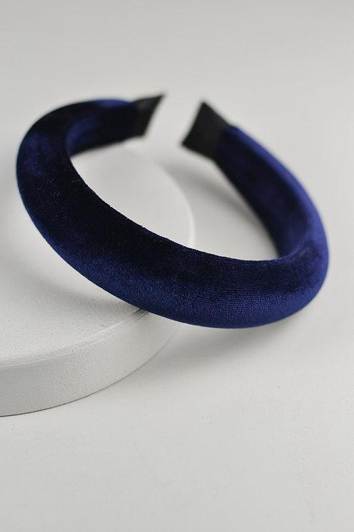 Tiara Acolchoada Veludo Azul Marinho