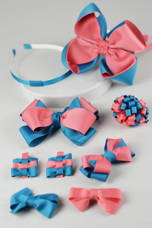 Kit 7 Laços, 1 Pompom e 2 Tiaras Azul e Coral