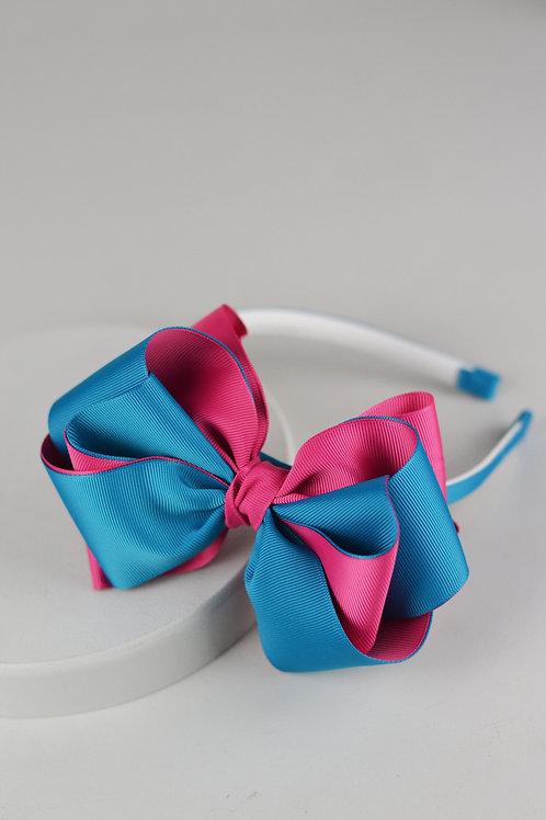 Tiara com Laço G Rosa e Azul
