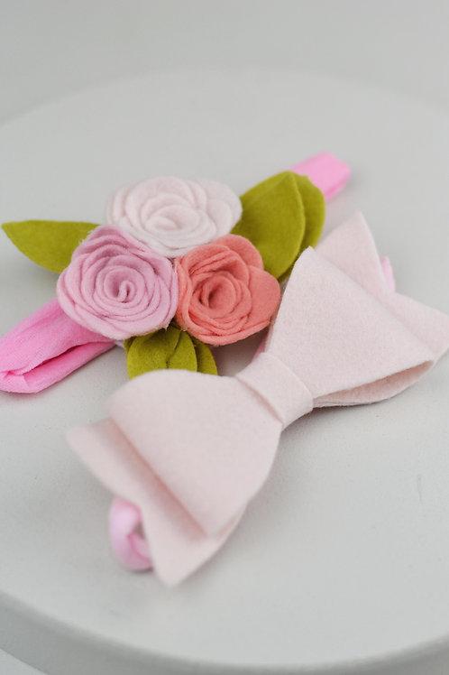 Conjunto de Flor e Laço Rosa