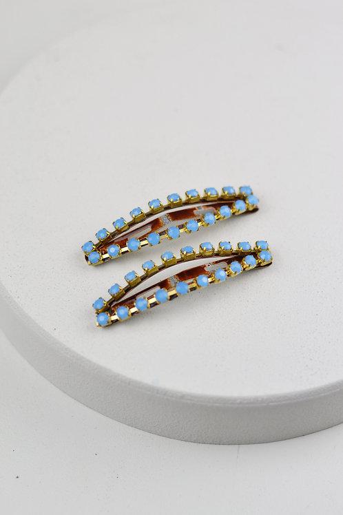Kit TicTac Marrom com Strass Azul Pequeno