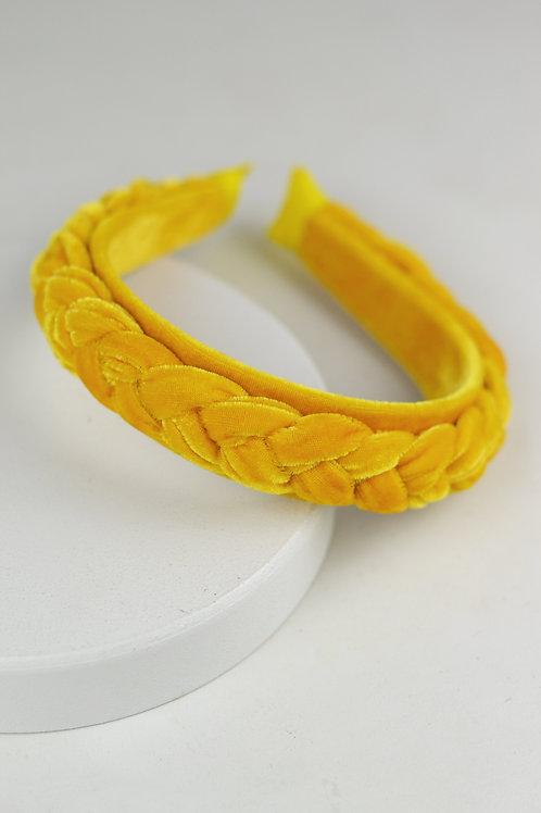 Tiara Trança Veludo Amarelo