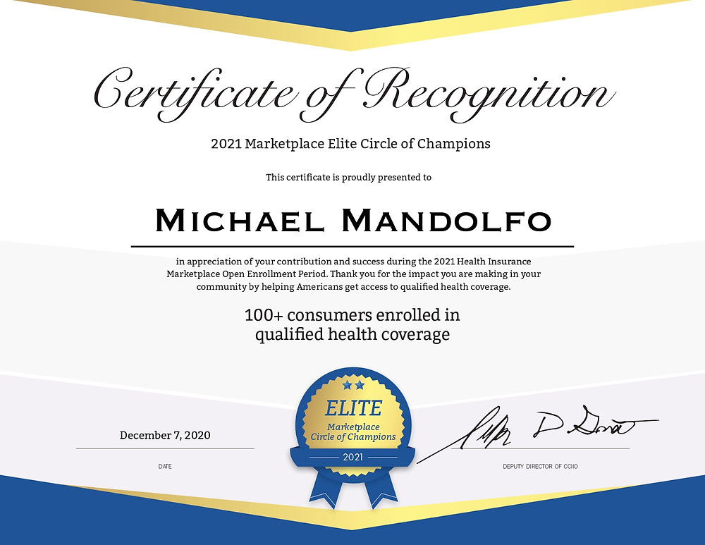 Mike Mandolfo Awarded 2021 Marketplace Elite Circle of Champions Recognition
