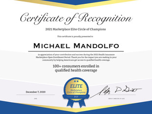 Mike Mandolfo Awarded 2021 Marketplace Elite Circle of Champions Recognition