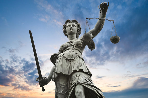 justice statue with sword and scale. clo