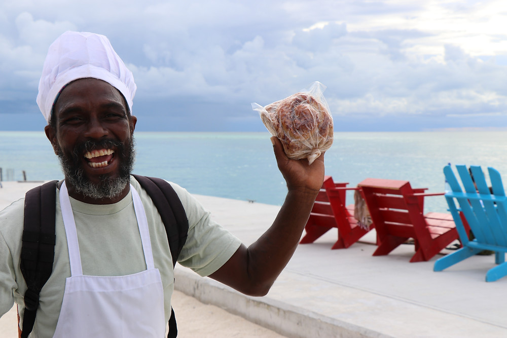 Belizean Island Baker (brings his baked goods from North Caye Caulker by boat daily!)