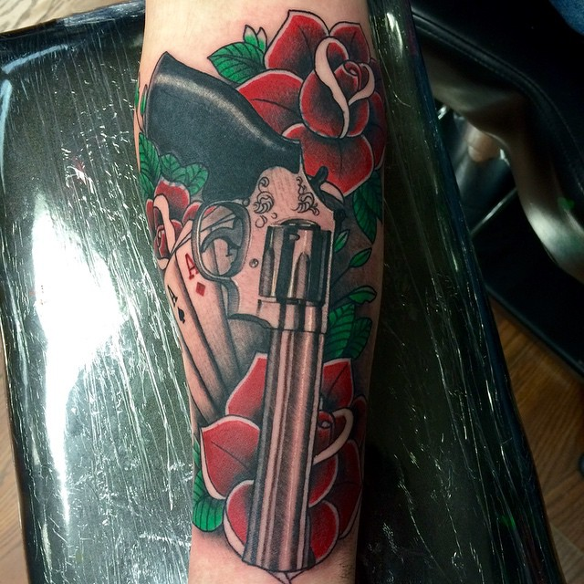 Instagram - #gun #roses #revolver #cards #aces #coverup #tattoo #tattoos #ink #i