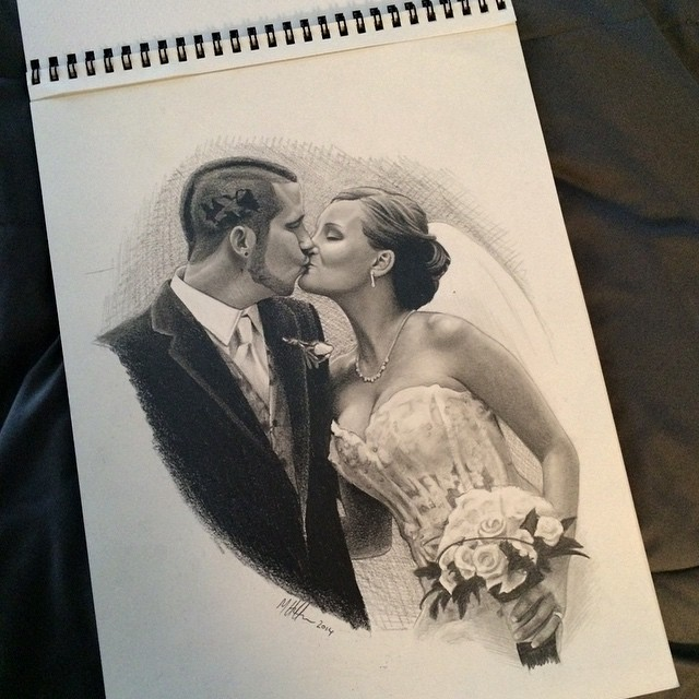 Instagram - #pencil #sketch #drawing #wedding #bride #groom #kiss