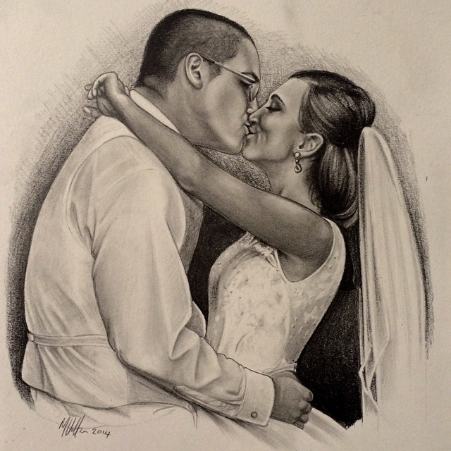 Instagram - #pencil #portrait #sketch #drawing #wedding #bride #groom @meganfeld