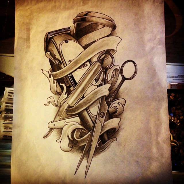 Instagram - Rough drawing for a customer #barber #barbershop #tattoo #scissors #