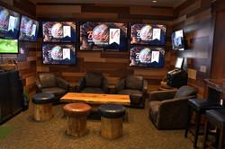 Golf simulator lounge area