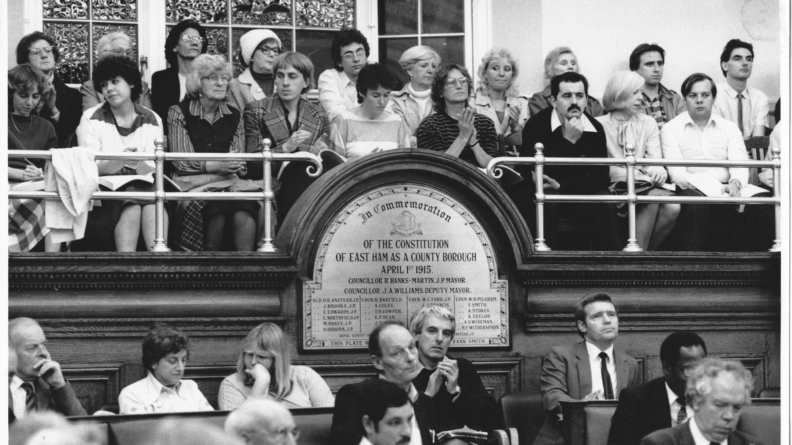 Local tenants watch from the public gallery while Newham Council decide to evacuate eight 22 storey Ronan Point type blocks. Oct 1984