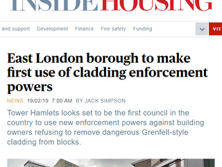 Tower Hamlets Council's Plans To Force Building Owners To Remove Dangerous Cladding