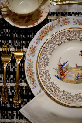 Mismatched Dinner Table Settings
