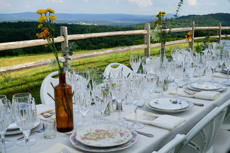mismatched china DIY wedding farm table
