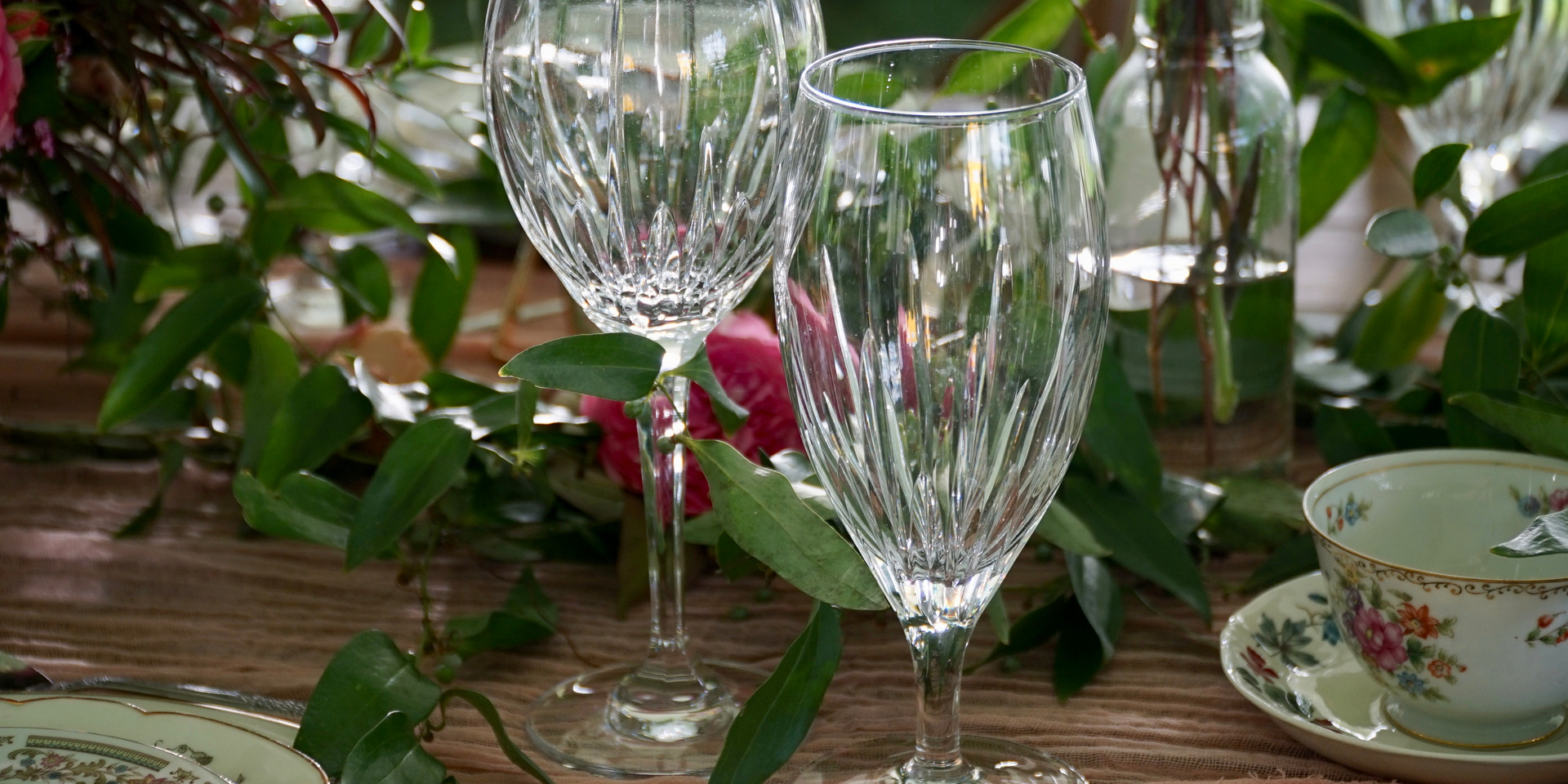 Crystal Wine and Water Glasses