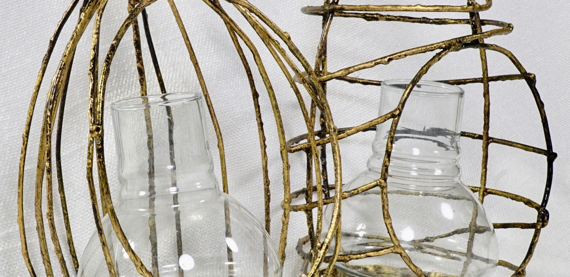 Gold Cage Tealight Hangers