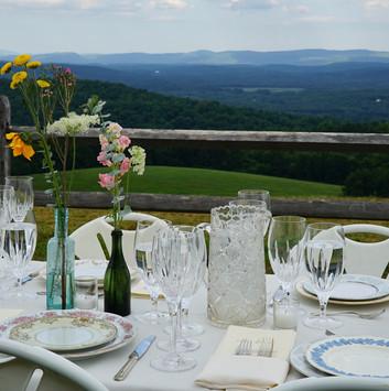 farm table wedding glass water pitcher