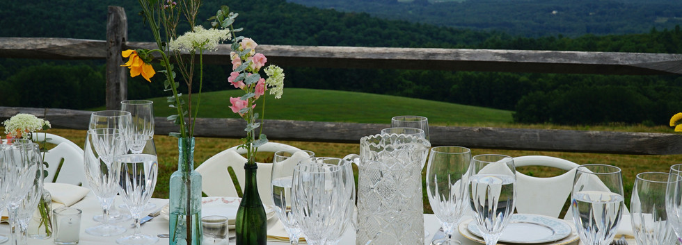 farm table wedding glass water pitcher