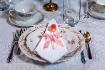 Barn Wedding Pink Dinner Table Placesettings