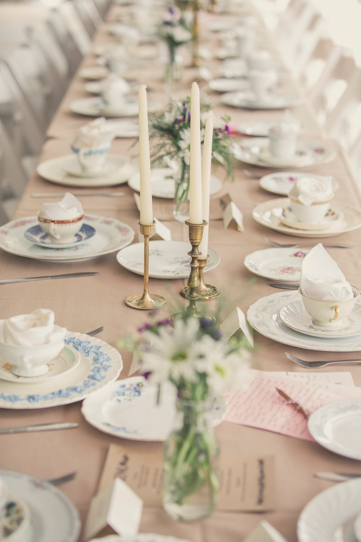 Long Family Style Dinner Table Wedding
