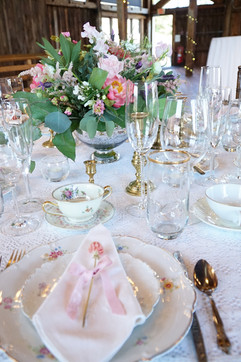 Barn Wedding Elegant Pink Table Settings
