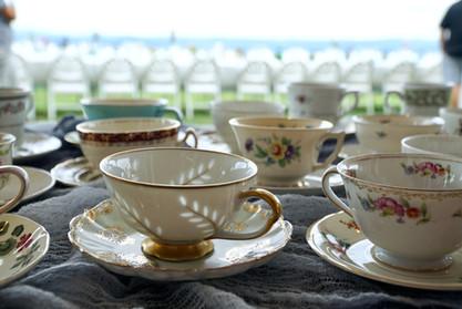 Mismatched teacups for drink bar at wedding