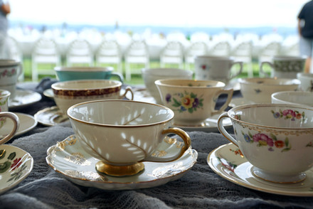 Mismatched teacups for drink bar at wedding