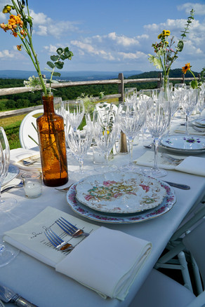 rustic DIY farm table wedding mismatched china western mass