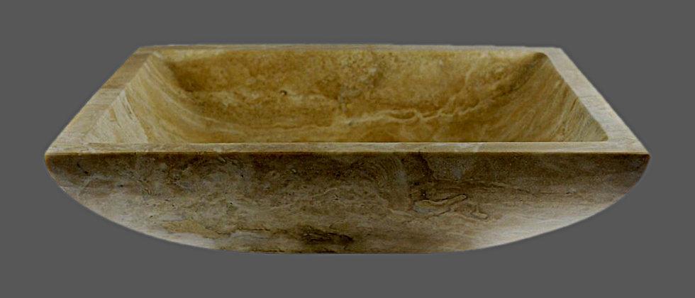 Med. Rectangular Travertine Sink - Classic Beige