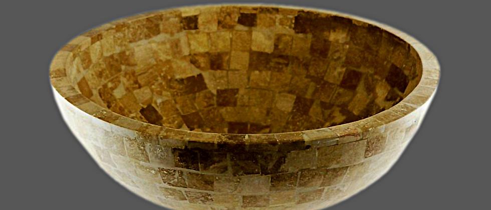Mosaic Travertine Round Sink - Classic Beige