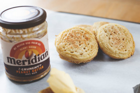 Sourdough crumpets with peanut butter