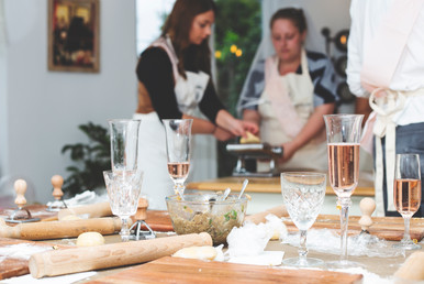 Bride makes ravioli