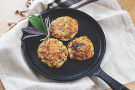 Homemade hash browns with sage and red onion