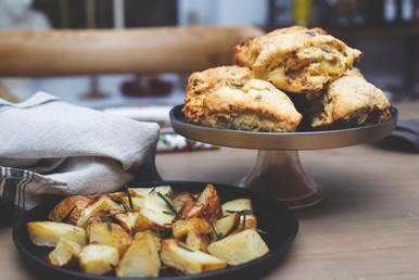 Roasted potatoe and rosemary scones