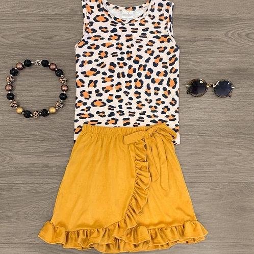 Sandy Suede Ruffle Skirt Set