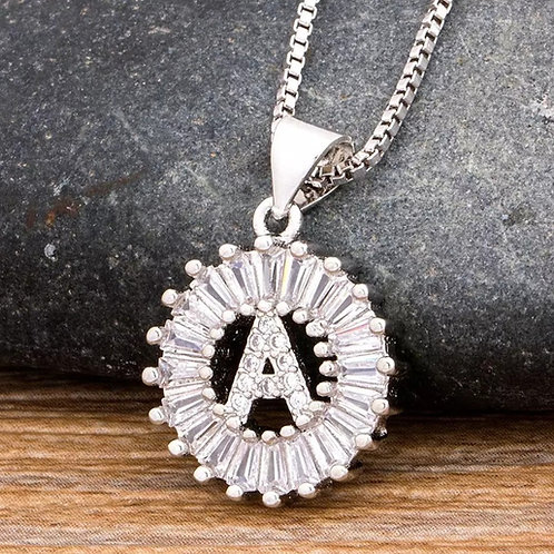 Sparkling Initial Necklace-Silver