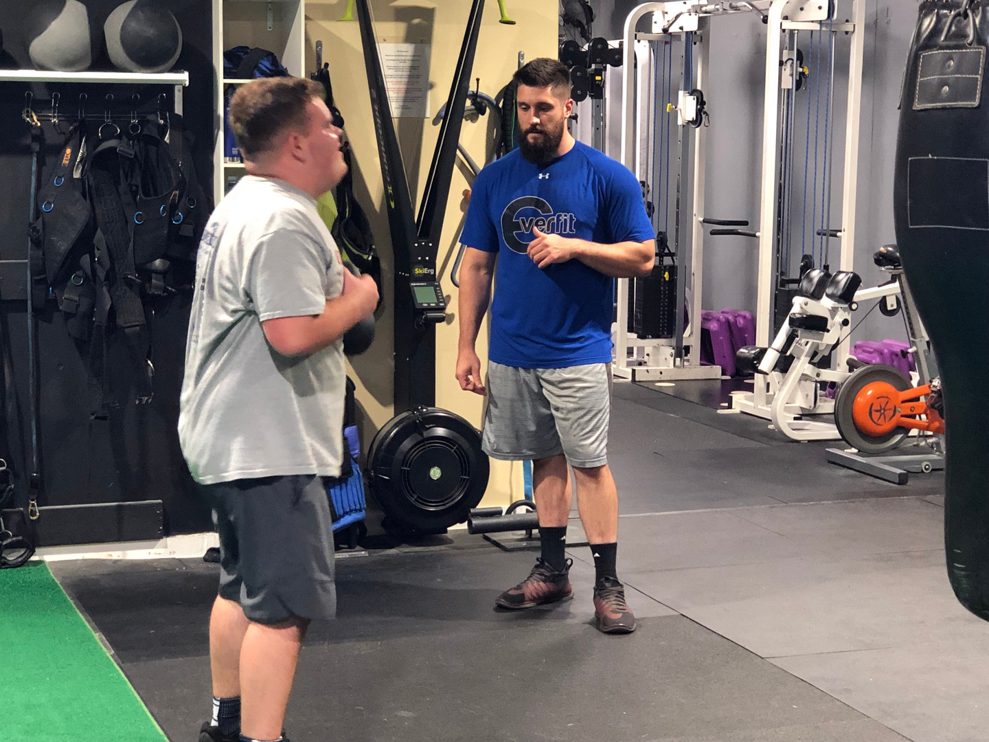 Our trainer Ian Culcasi working with his client Ryan Booz.