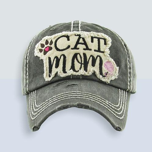 Cat Mom Distressed Trucker Hat