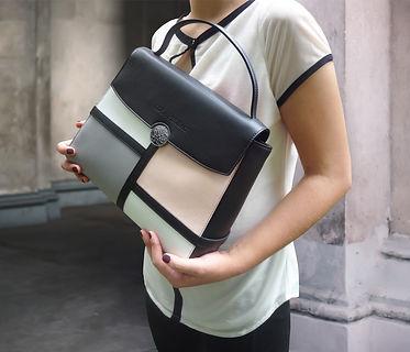 Lola Prusac Kristina satchel multi color block in gray, blush and white