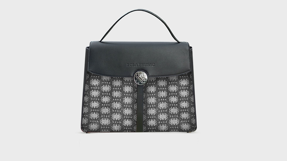 Kristina satchel in wool and calfskin leather