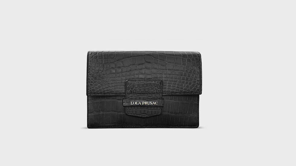 Eden flap clutch in alligator
