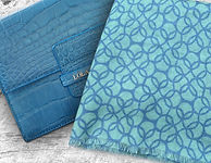 Lola Prusac Edn clutch in blue alligator and mint and blue scarf