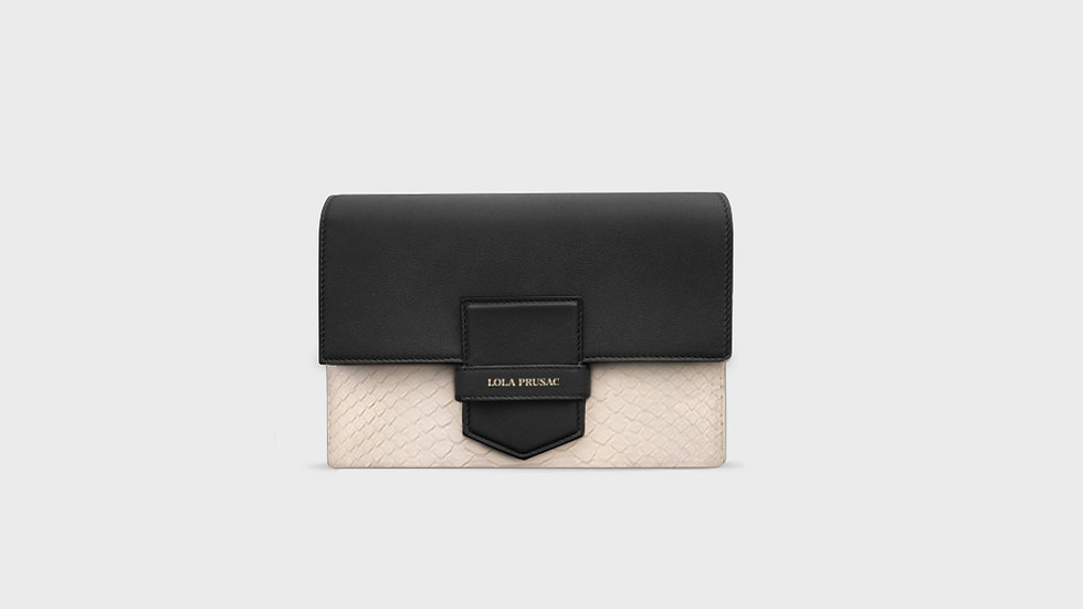 Eden flap clutch in python and calfskin leather