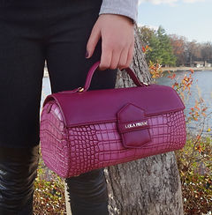 Lola Prusac Hannah cylinder bag in American Alligator