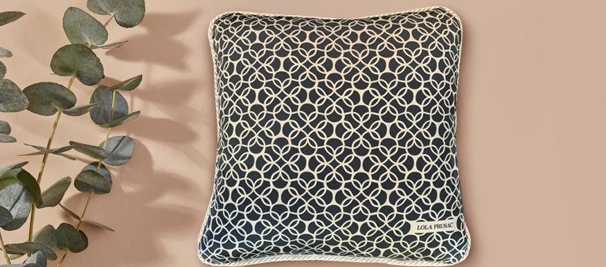 Lola Prusac Silk Monogram Pillow